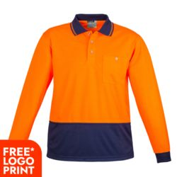 SYZMIK Unisex Hi Vis Basic Spliced Polo - Long Sleeve Thumbnail