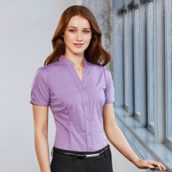 BIZ COLLECTION Women Chevron Stand Collar Shirt Thumbnail